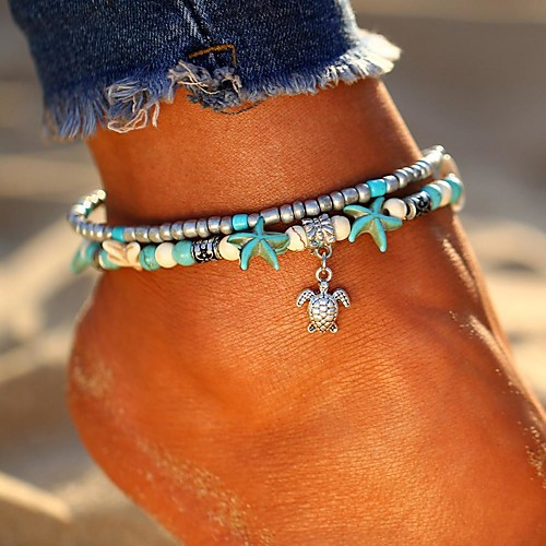 Ankle Bracelet feet jewelry Ladies Bohemian Ethnic Women's Body Jewelry For Going out Beach Layered Double Turquoise Alloy Turtle Starfish Silver Elephant Tree 1pc