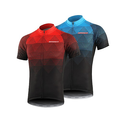 BERGRISAR Men's Short Sleeve Cycling Jersey Polyester Black / Red Orange Green Gradient Bike Jersey Top Mountain Bike MTB Road Bike Cycling Breathable Quick Dry Reflective Strips Sports Clothing