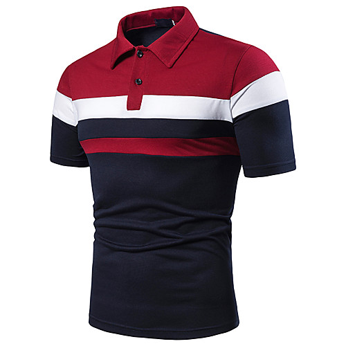 Men's Golf Shirt Simple Patchwork Short Sleeve Sports & Outdoor Tops Cotton Casual / Daily Casual / Sporty Shirt Collar Red Light gray Navy Blue