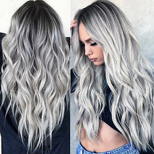 Synthetic Wig Curly Wavy Middle Part Wig Ombre Long Grey Ombre Pink Ombre Brown Ombre Green Ombre Red Synthetic Hair 24 inch Women's Fashionable Design Women Synthetic Dark Gray Ombre