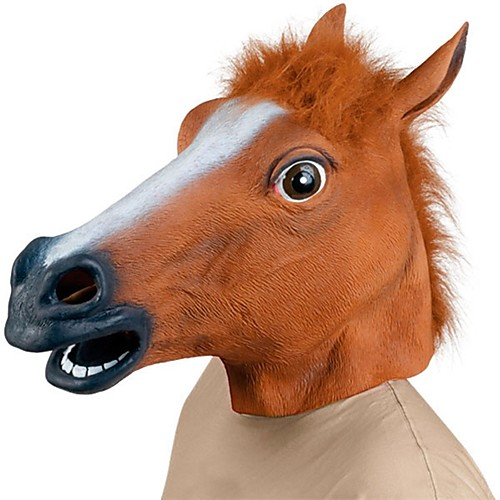 Horse Head Halloween Mask Halloween Prop Animal Mask Halloween Toy Rubber Fun & Whimsical Costume Party Creepy Funny Horse Head Costume Horror Adults' Boys' Girls'