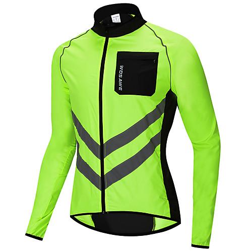 WOSAWE Men's Windbreaker Cycling Jacket Wind Jacket Winter Woven Polyester Bike Jersey Raincoat Top Windproof Reflective Strips Back Pocket Sports Patchwork Black / Orange / Green Mountain Bike MTB