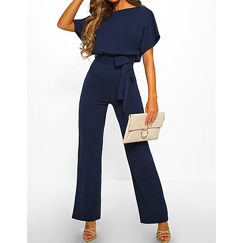 Women's Casual Elegant Daily Going out Black Blue Red Jumpsuit Solid Colored Drawstring
