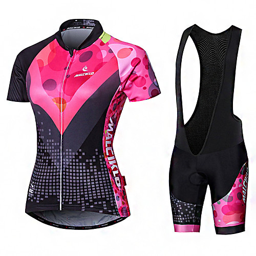 Malciklo Women's Short Sleeve Cycling Jersey with Bib Shorts Elastane Lycra Polyester PinkWhite Black Purple Geometic British Plus Size Bike Jersey Tights Padded Shorts / Chamois Breathable Quick