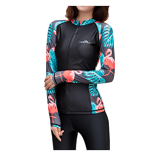 SBART Women's Diving Rash Guard Swim Shirt Breathable Quick Dry Long Sleeve Front Zip - Swimming Surfing Snorkeling Patchwork Autumn / Fall Spring Summer / Micro-elastic