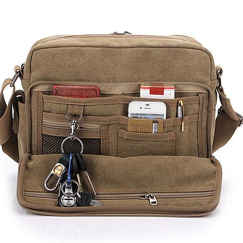Men's Bags Canvas Shoulder Messenger Bag Crossbody Bag Zipper Solid Color Daily Canvas Bag MessengerBag Black Khaki Brown