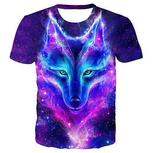 Men's Plus Size Galaxy 3D Wolf Print T-shirt Basic Exaggerated Daily Club Round Neck Purple / Summer / Short Sleeve / Animal