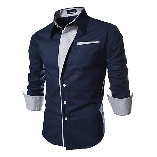 Men's Plus Size Shirt Solid Colored Basic Long Sleeve Slim Tops Spread Collar White Black Red / Spring / Fall
