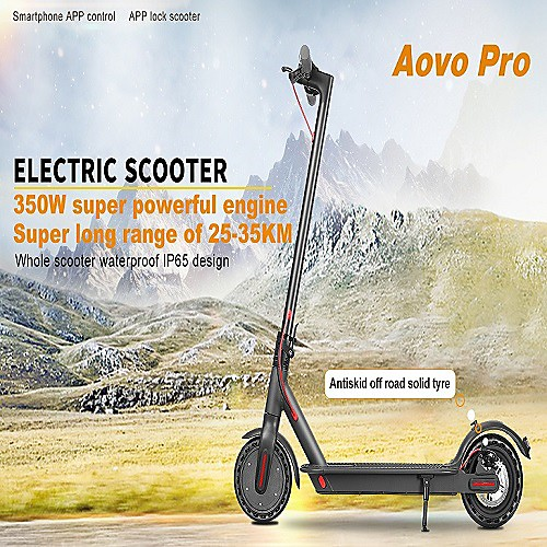 (US/EU Direct) AOVO Pro 350W Motor LED Headlight Double Brake Foldable Smartphone App Control Electric Scooter 8.5 inch LCD Display 120kg Weight Capacity Max 30km/h Better Than Xiaomi M365 PRO