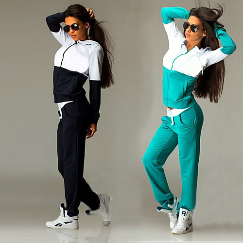 Women's 2 Piece Full Zip Tracksuit Sweatsuit Street Casual Long Sleeve 2pcs Thermal Warm Breathable Soft Fitness Gym Workout Running Jogging Exercise Sportswear Plus Size Outfit Set Clothing Suit