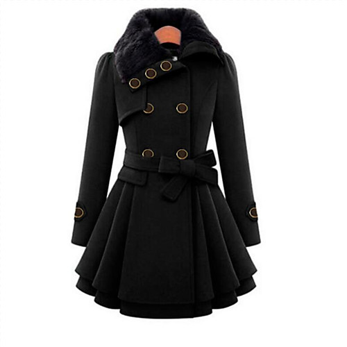 Women's Fall Coat Long Solid Colored Daily Black Red Camel S M L / Winter