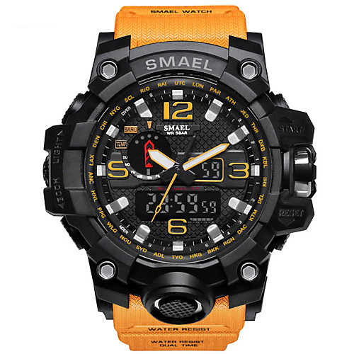 Men's Sport Watch Military Watch Wrist Watch Digital Casual Water Resistant / Waterproof Silicone Black / Green / Khaki LED Analog - Digital - Black / Gold Black / Orange RedBlue Two Years Battery