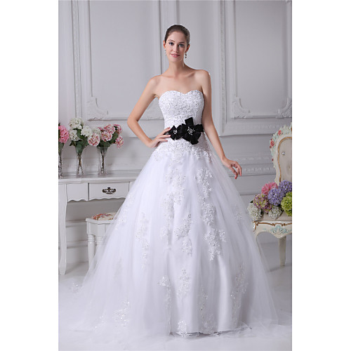 Ball Gown Wedding Dresses Sweetheart Neckline Chapel Train Lace Satin Tulle Strapless with Sashes / Ribbons Bow(s) Beading 2021