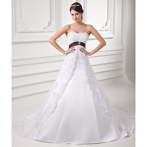A-Line Wedding Dresses Strapless Chapel Train Lace Satin Tulle Strapless with Sashes / Ribbons Bow(s) Beading 2021
