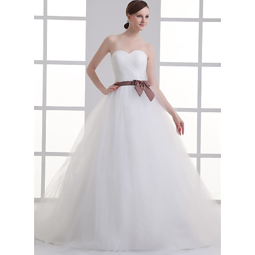 A-Line Wedding Dresses Sweetheart Neckline Court Train Lace Satin Tulle Strapless with Sashes / Ribbons Bow(s) Ruched 2021