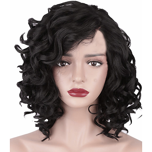 Synthetic Wig Afro Curly Asymmetrical Wig Short Natural Black Synthetic Hair 11 inch Women's Best Quality curling Black