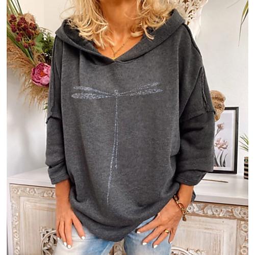 lightinthebox / Damen Pullover Hoodie Sweatshirt Solide Grundlegend Kapuzenpullover Sweatshirts überdimensional Grau