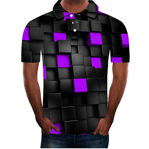 Men's Polo Graphic Plus Size Short Sleeve Daily Tops Streetwear Exaggerated Purple