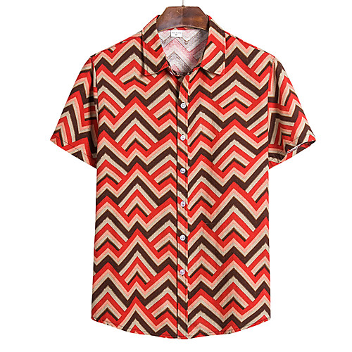 Men's Striped Print Shirt Tropical Hawaiian Daily Going out Button Down Collar Red / Green / Brown / Short Sleeve