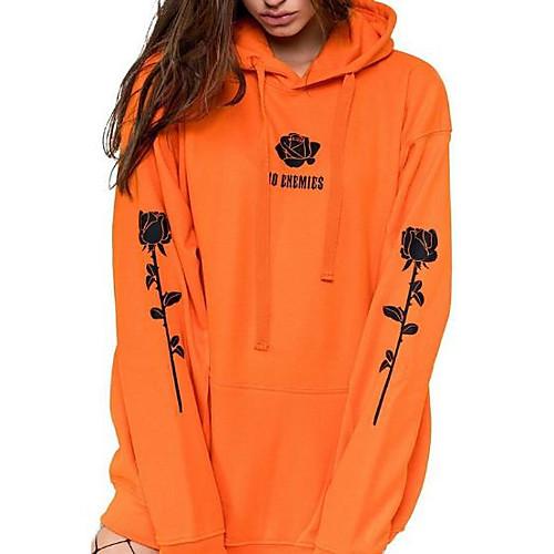 lightinthebox / Damen Pullover Hoodie Sweatshirt Solide Freizeit Kapuzenpullover Sweatshirts überdimensional Schwarz Armeegrün Orange
