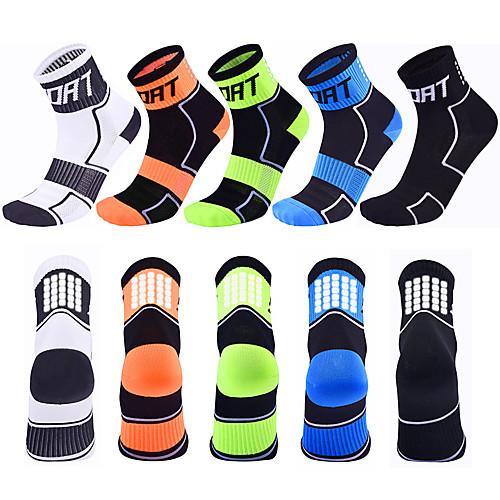 Compression Socks Ankle Socks Athletic Sports Socks Cycling Socks Women's Men's Cycling / Bike Bike / Cycling Lightweight Breathable Quick Dry 5 Pairs Fashion Nylon White Black Blue M L XL