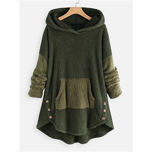 lightinthebox / Damen Pullover Hoodie Sweatshirt Solide Grundlegend Kapuzenpullover Sweatshirts überdimensional Rosa Grün Grau