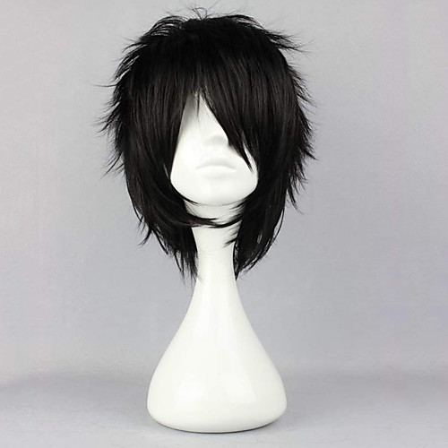 Cosplay Costume Wig Synthetic Wig Curly Halloween Asymmetrical Wig Short Natural Black Synthetic Hair 12 inch Men's Best Quality Fluffy Black