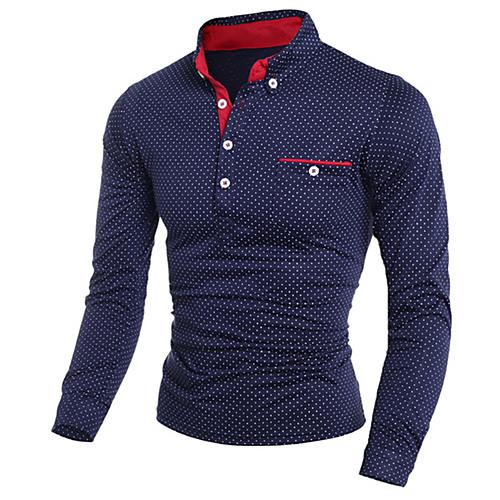 Men's Golf Shirt Polka Dot Print Long Sleeve golf shirts Slim Tops Shirt Collar White Black Navy Blue