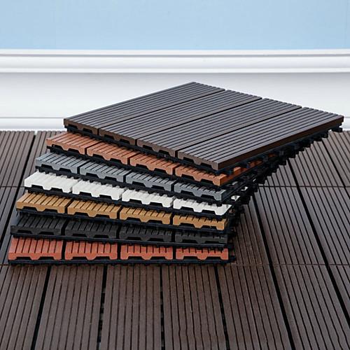 Outdoor Plastic Wood Splicing Floor Patio and Deck Tiles – Interlocking Slat Pattern Outdoor Floor Pavers Weather Resistant and Anti-Slip Square DIY Mat 1PC 3030cm