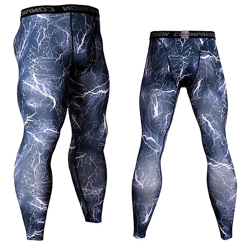 JACK CORDEE Men's Running Tights Compression Pants Running Base Layer Sports Bottoms Running Jogging Training Breathable Quick Dry Moisture Wicking Camouflage White / Green Red Blue / White Blue