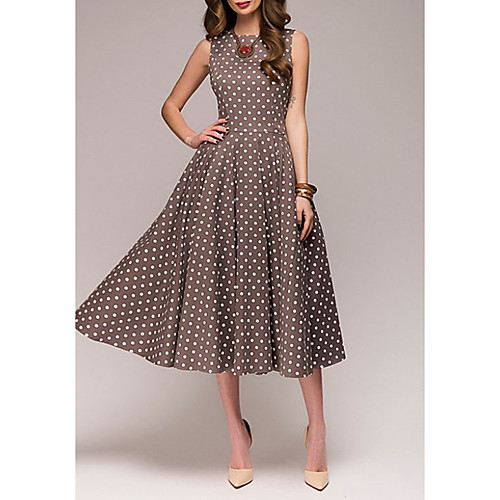 Women's Plus Size A Line Dress - Sleeveless Polka Dot Summer 1950s Elegant Party / Cocktail 2020 Red Green Brown S M L XL XXL XXXL XXXXL