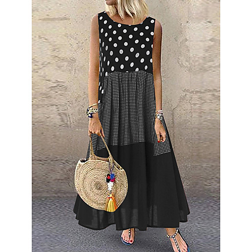 Women's Plus Size Maxi Dress - Sleeveless Polka Dot Patchwork Summer Casual Holiday Vacation Loose 2020 Black Red Yellow M L XL XXL XXXL XXXXL XXXXXL