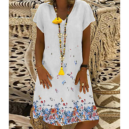 lightinthebox / Mulheres Shift Dress Mini Vestido - Manga Curta Floral Estampado Verão Decote V Casual Férias Branco Preto Azul Amarelo S M L XL XXL XXXL XXXXL XXXXXL