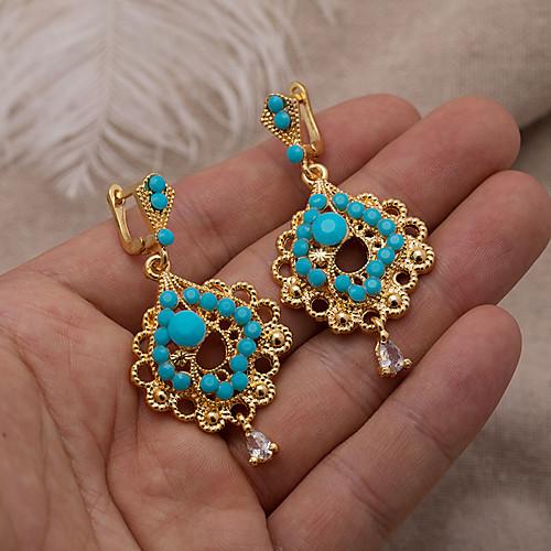 Women's Drop Earrings Hoop Earrings Earrings Classic Holiday Fashion Wedding Luxury Classic Trendy Fashion Cute Gold Plated Earrings Jewelry Gold For Wedding Birthday Gift Formal Festival 1 Pair