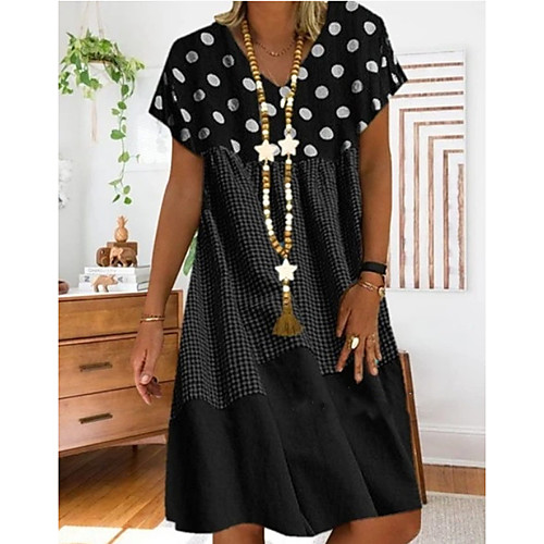 Women's Plus Size A-Line Dress Midi Dress - Short Sleeves Polka Dot Print Summer Casual Holiday Vacation Loose 2020 Black Red Yellow S M L XL XXL XXXL XXXXL XXXXXL