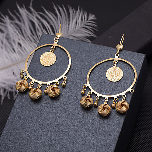 Women's Drop Earrings Hoop Earrings Earrings Classic Holiday Fashion Wedding Luxury Classic Trendy Fashion Cute Gold Plated Earrings Jewelry Gold For Wedding Birthday Gift Formal Festival 1 Pair