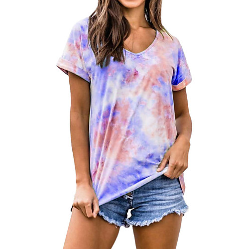 Women's Plus Size Color Block Tie Dye Print T-shirt Basic Street chic Daily Going out V Neck Wine / Blue / Purple / Orange / Green / Light Blue