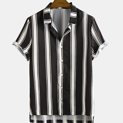 Men's Striped Shirt - Cotton Tropical Hawaiian Holiday Beach Button Down Collar Black / Short Sleeve