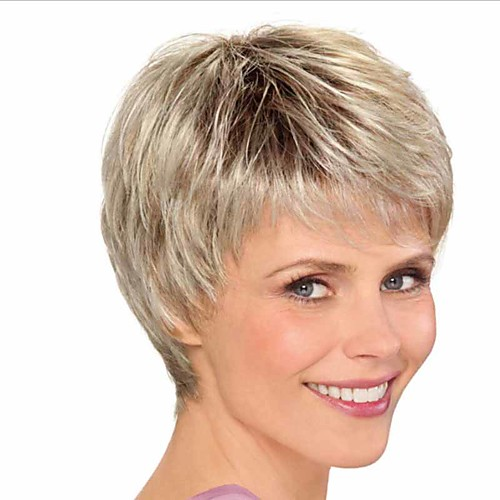 Synthetic Wig Curly Matte Pixie Cut Wig Short Light golden Synthetic Hair 6 inch Women's Ombre Hair curling Fluffy Blonde