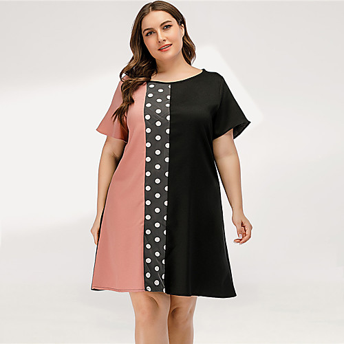 Women's A Line Dress - Short Sleeves Polka Dot Color Block Patchwork Summer Casual Elegant Daily Going out 2020 Blushing Pink L XL XXL XXXL XXXXL