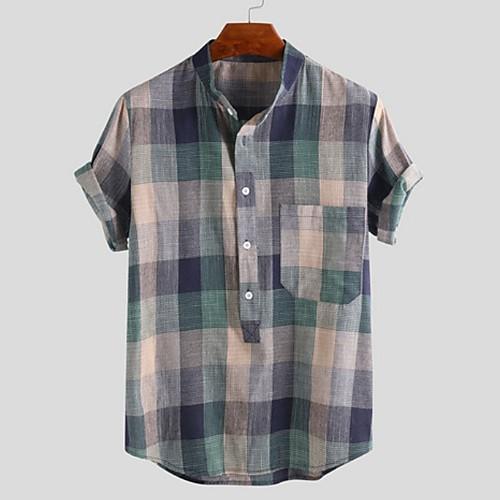 Men's Geometric Shirt - Cotton Tropical Hawaiian Holiday Beach V Neck Button Down Collar Red / Orange / Green / Short Sleeve