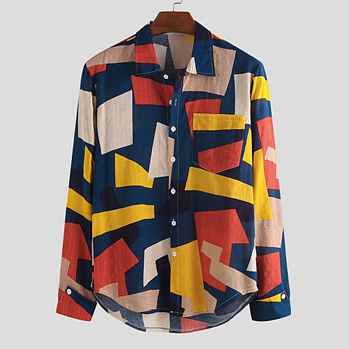 Men's Color Block Shirt - Cotton Tropical Hawaiian Holiday Beach Button Down Collar White / Red / Brown / Long Sleeve