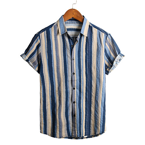 Men's Striped Shirt - Cotton Tropical Hawaiian Holiday Beach Classic Collar Button Down Collar Gray / Short Sleeve