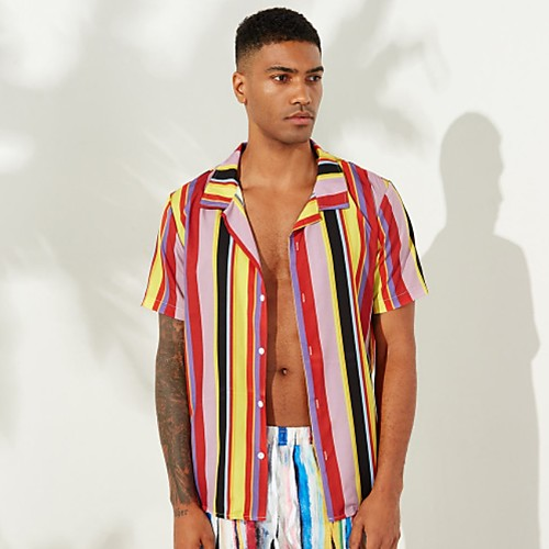Men's Striped Shirt - Cotton Tropical Hawaiian Holiday Beach Button Down Collar Red / Short Sleeve