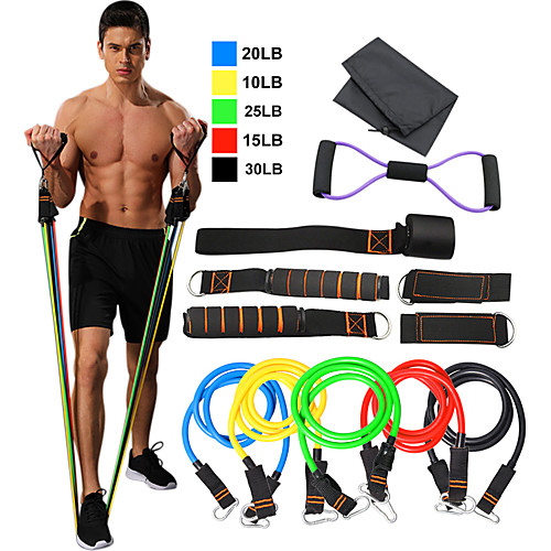 Resistance Band Set 15 Stackable Exercise Bands Door Anchor Legs Ankle Straps Sports TPE Home Workout Pilates Fitness Heavy-duty Carabiner Strength Training Muscular Bodyweight Training Muscle, lightinthebox  - buy with discount