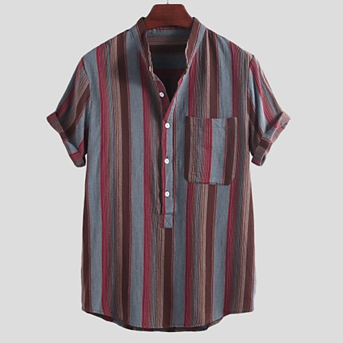 Men's Striped Shirt - Cotton Tropical Hawaiian Holiday Beach Button Down Collar Standing Collar Red / Yellow / Short Sleeve