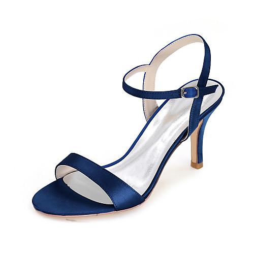 Women's Wedding Shoes Spring / Summer Stiletto Heel Open Toe Minimalism Wedding Party & Evening Solid Colored Satin White / Black / Purple