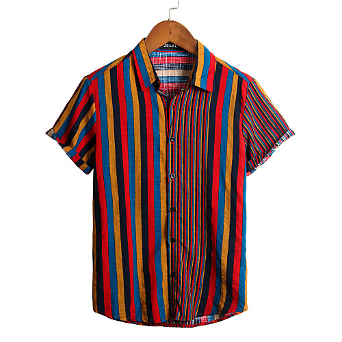 Men's Striped Shirt - Cotton Tropical Hawaiian Holiday Beach Classic Collar Button Down Collar Red / Short Sleeve