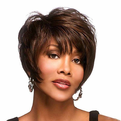 Synthetic Wig Curly Matte Pixie Cut Wig Short Light Brown Synthetic Hair 6 inch Women's Cool curling Fluffy Brown