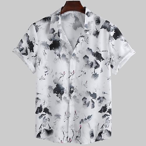 Men's Floral Shirt - Cotton Tropical Hawaiian Holiday Beach White / Short Sleeve